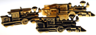 Steam Engine Cuff Links & Tie Bar